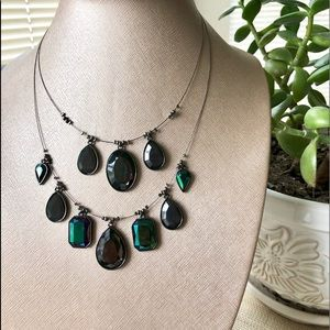 2Row Iridescent Hunter Green & Black Wire Necklace